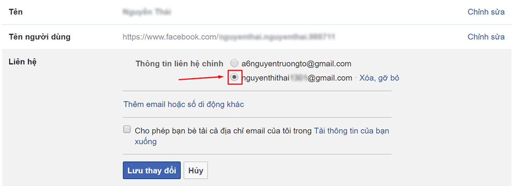Thay đổi Email chính