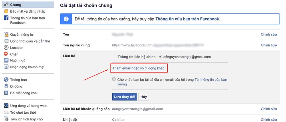 Thêm email hoặc số di động khác