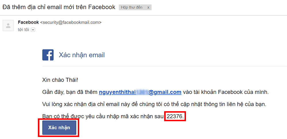 Xác nhận Email Facebook