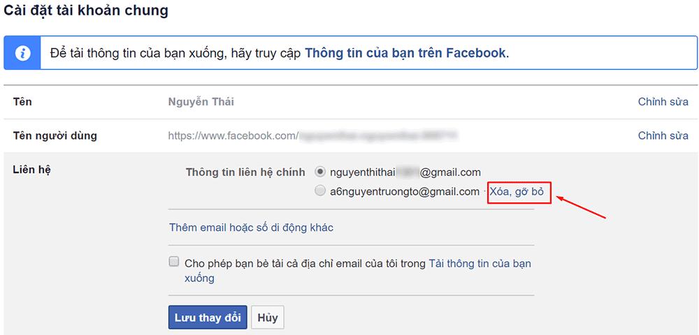 Xóa email khỏi tài khoản Facebook