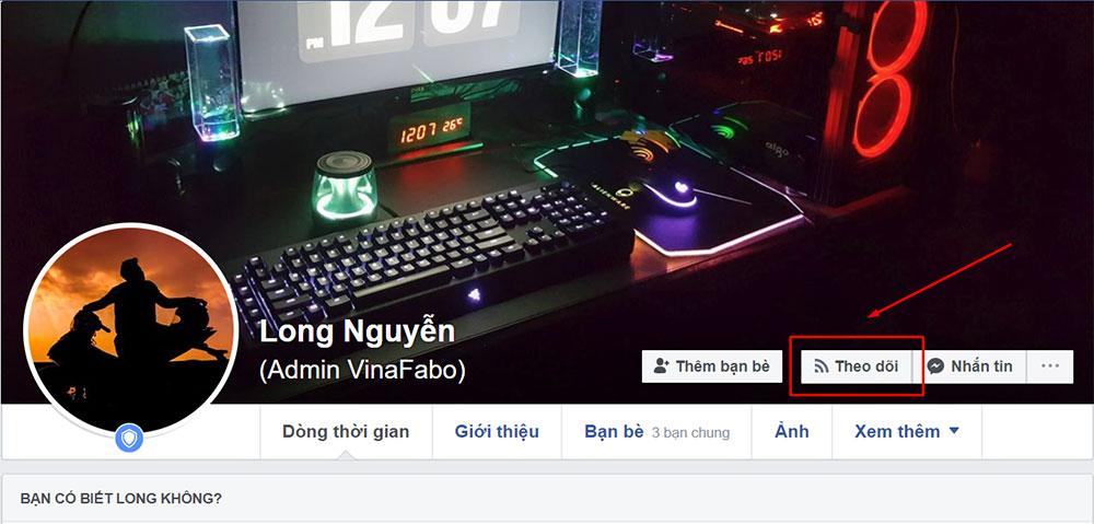 Bật nút theo dõi Facebook