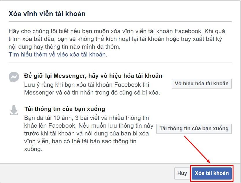 Cách xóa tài khoản Facebook trên máy tính