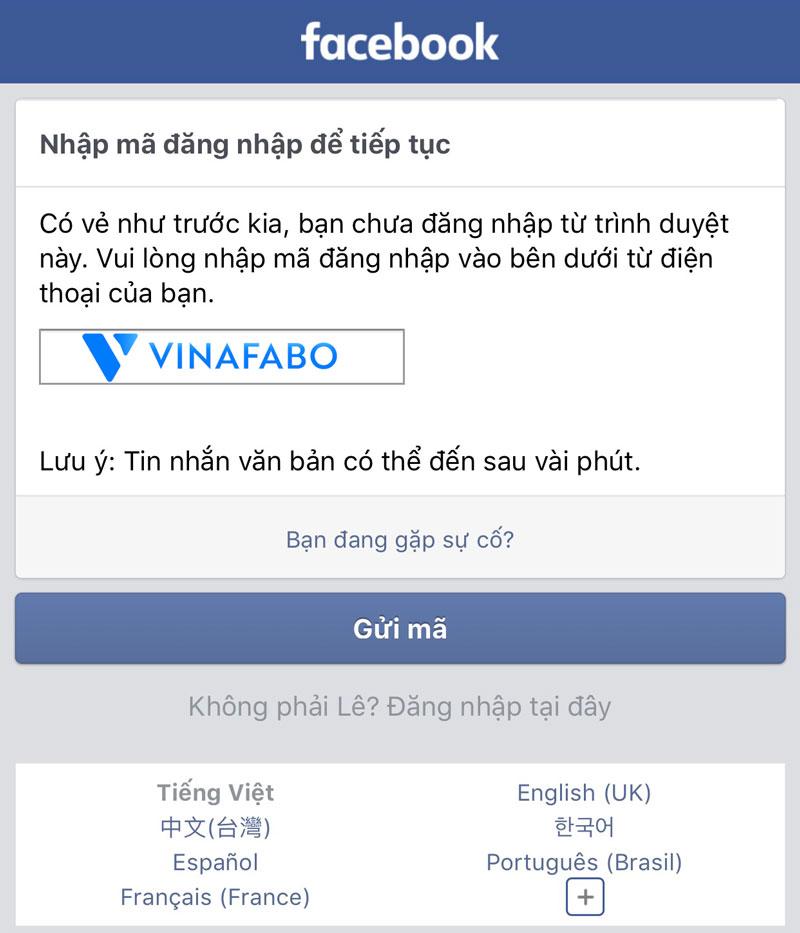Nhập mã đăng nhập để tiếp tục Facebook
