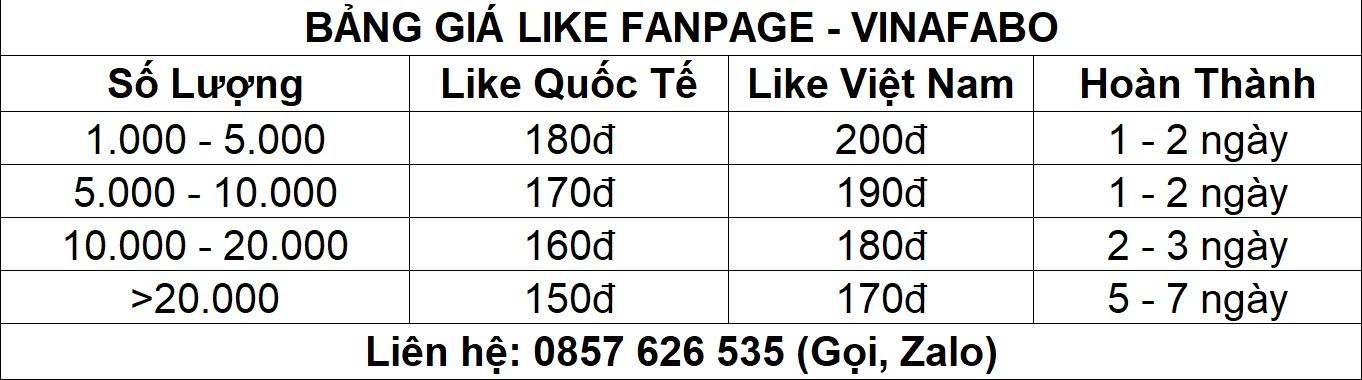 Bảng giá dịch vụ tăng like Fanpage Facebook