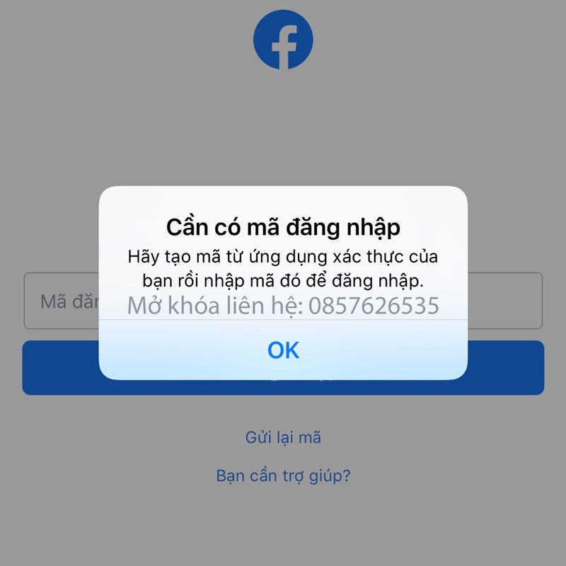 Cần có mã đăng nhập Facebook